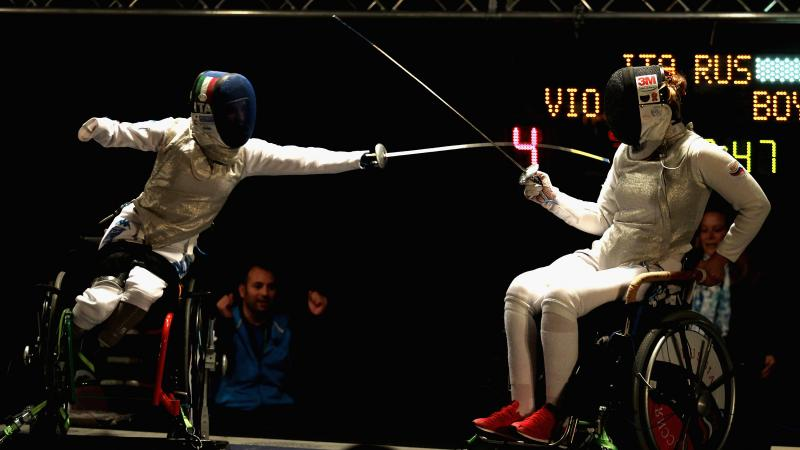 Italian wheelchair fencer Beatrice Vio competing