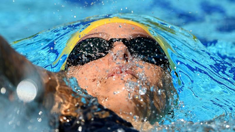 Australian Ellie Cole swimming backstroke