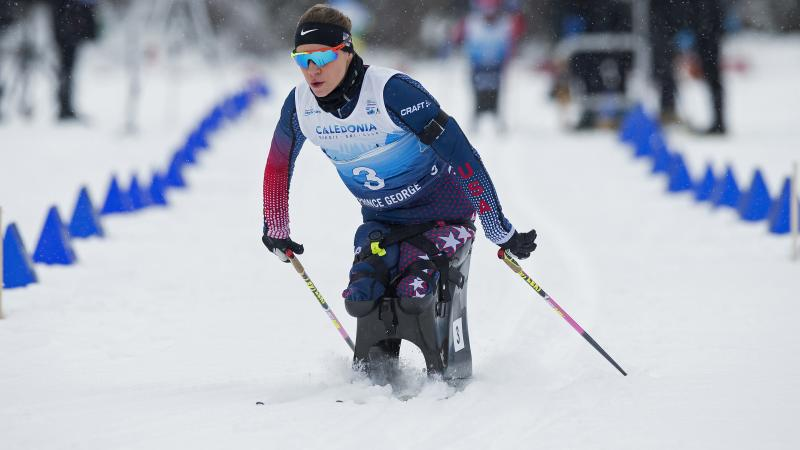 female Para Nordic skier Oksana Masters skis on the course
