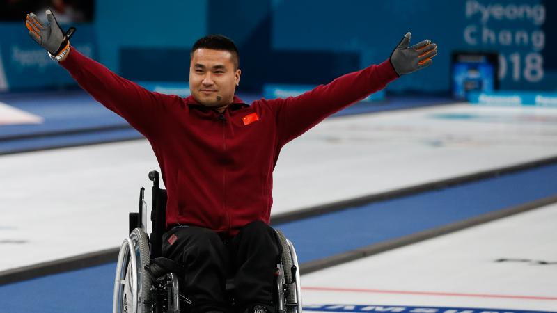 male wheelchair curler Haitao Wang