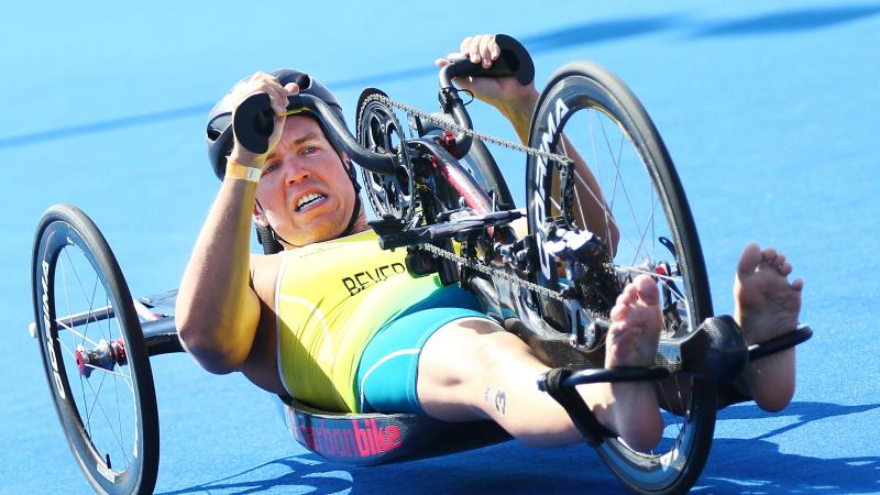 Australia man racing in a handcycle