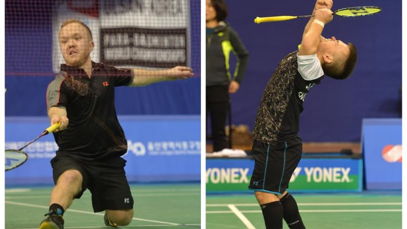male Para badminton players Jack Shephard and Krysten Coombs