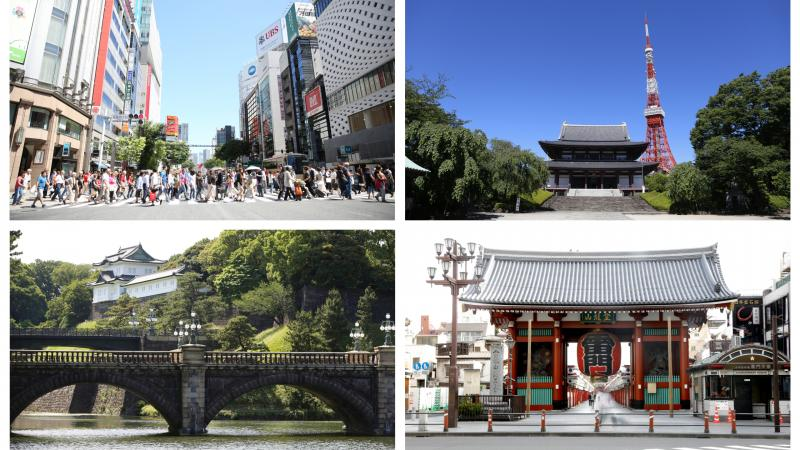 landmarks in Tokyo, including the Tokyo Tower and Imperial Palace