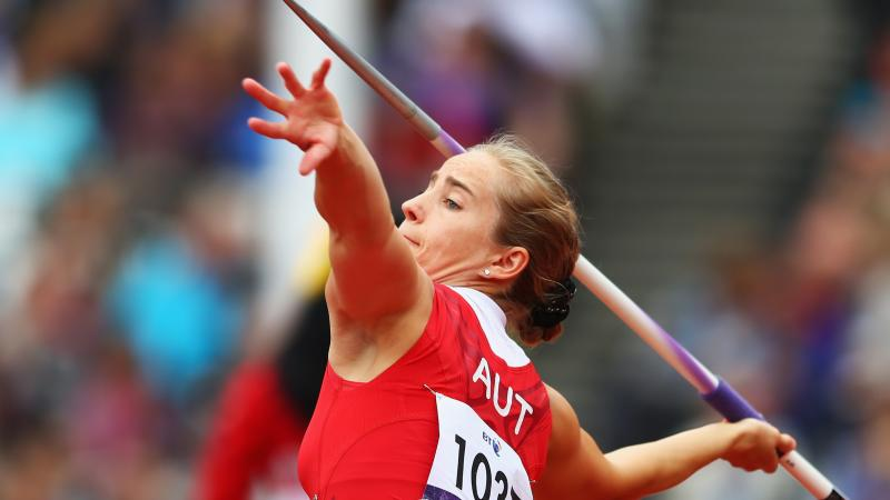female Para athlete Natalija Eder throws a javelin