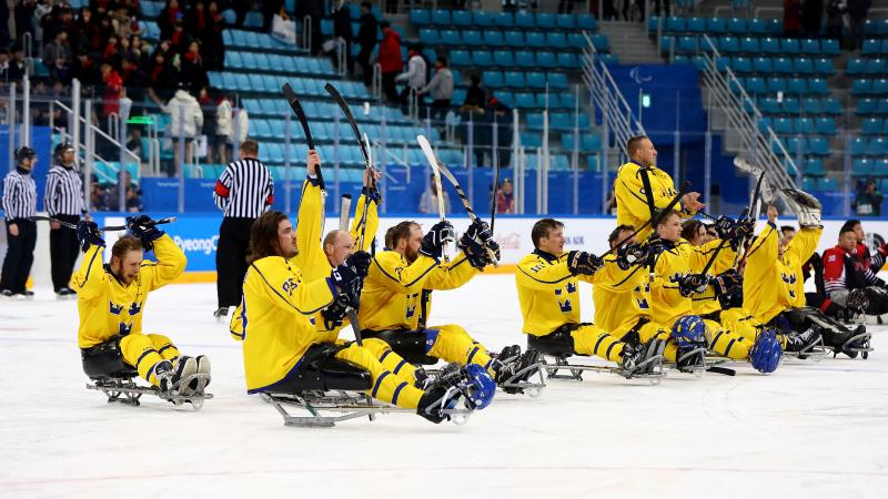 the Sweden Para ice hockey team raise their sticks in celebration on the ice