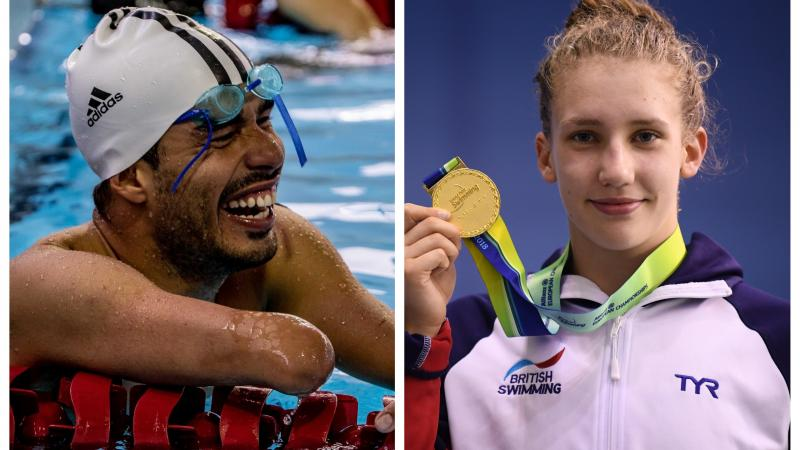 male Para swimmer Daniel Dias laughs in the pool and female Para swimmer Louise Fiddes holds up a gold medal