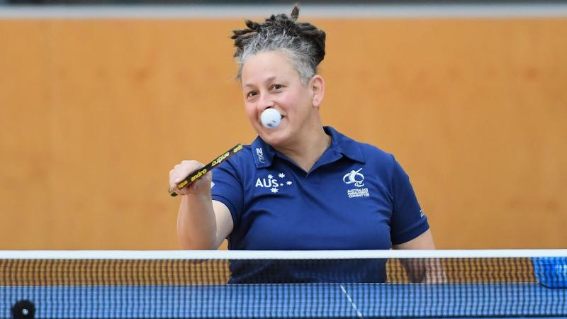 female Para table tennis player Daniela di Toro plays a forehand
