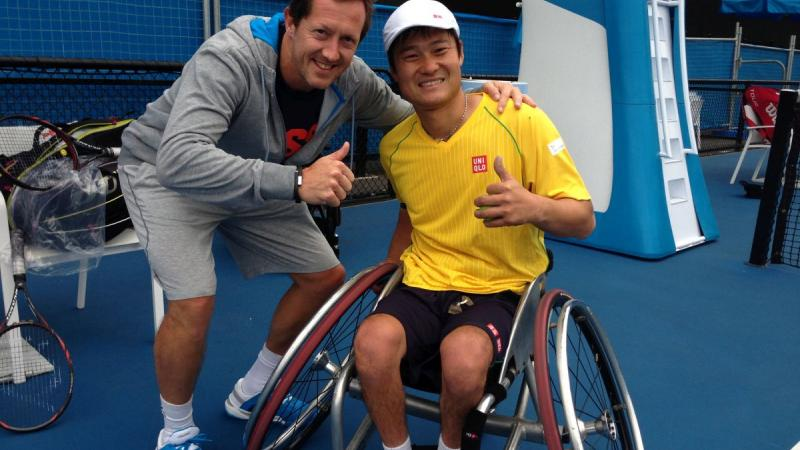 Swedish tennis legend Jonas Bjorkman with Japanese wheelchair tennis Paralympic champion Shingo Kunieda