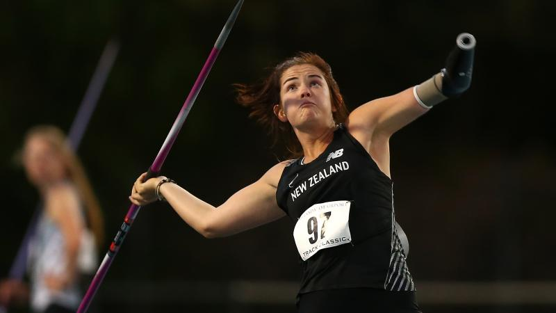 New Zealand's athlete Holly Robinson throwing a javelin during a competition
