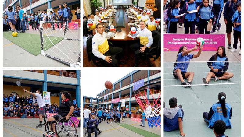 Four photos in a collage showing shoolchildren trying Para sports and one of Peruvian President and his Cabinet of Ministers wearing Lima 2019 gear