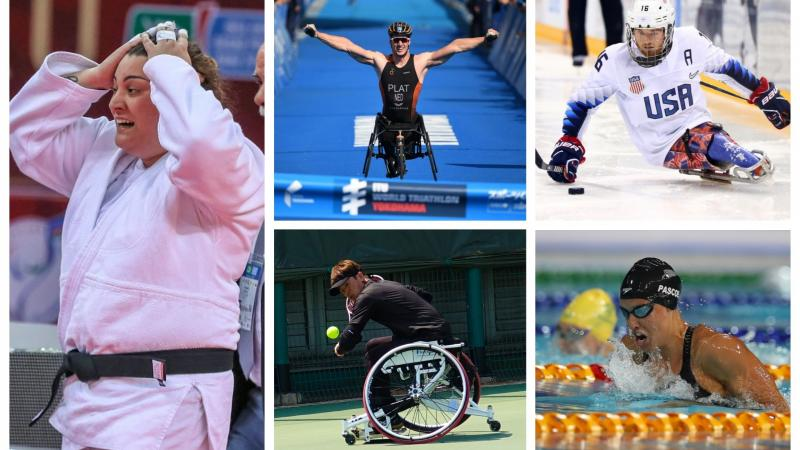 Picture collage of five athletes: swimmer, judoka, wheelchair tennis player, ice hockey player and triathlete
