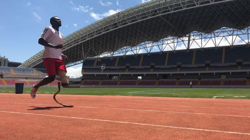 Costa Rican sprinter Sherman Guity standing on the track