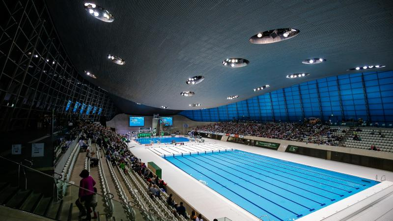 the inside of the London Aquatics Centre swimming pool