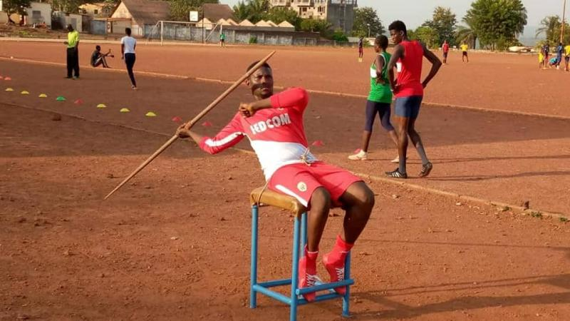 Para athlete Mohamed Karifa Sylla practices javelin throw
