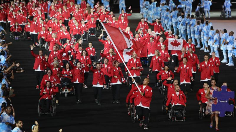 Canadian delegation marching at the Opening Ceremony of the Rio 2016 Paralympic Games