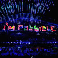 """I'm possible"" written in Tetris cubes at Sochi 2014 Paralympic Closing Ceremony"