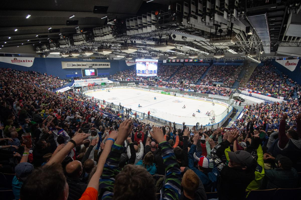 Overview of packed ice arena