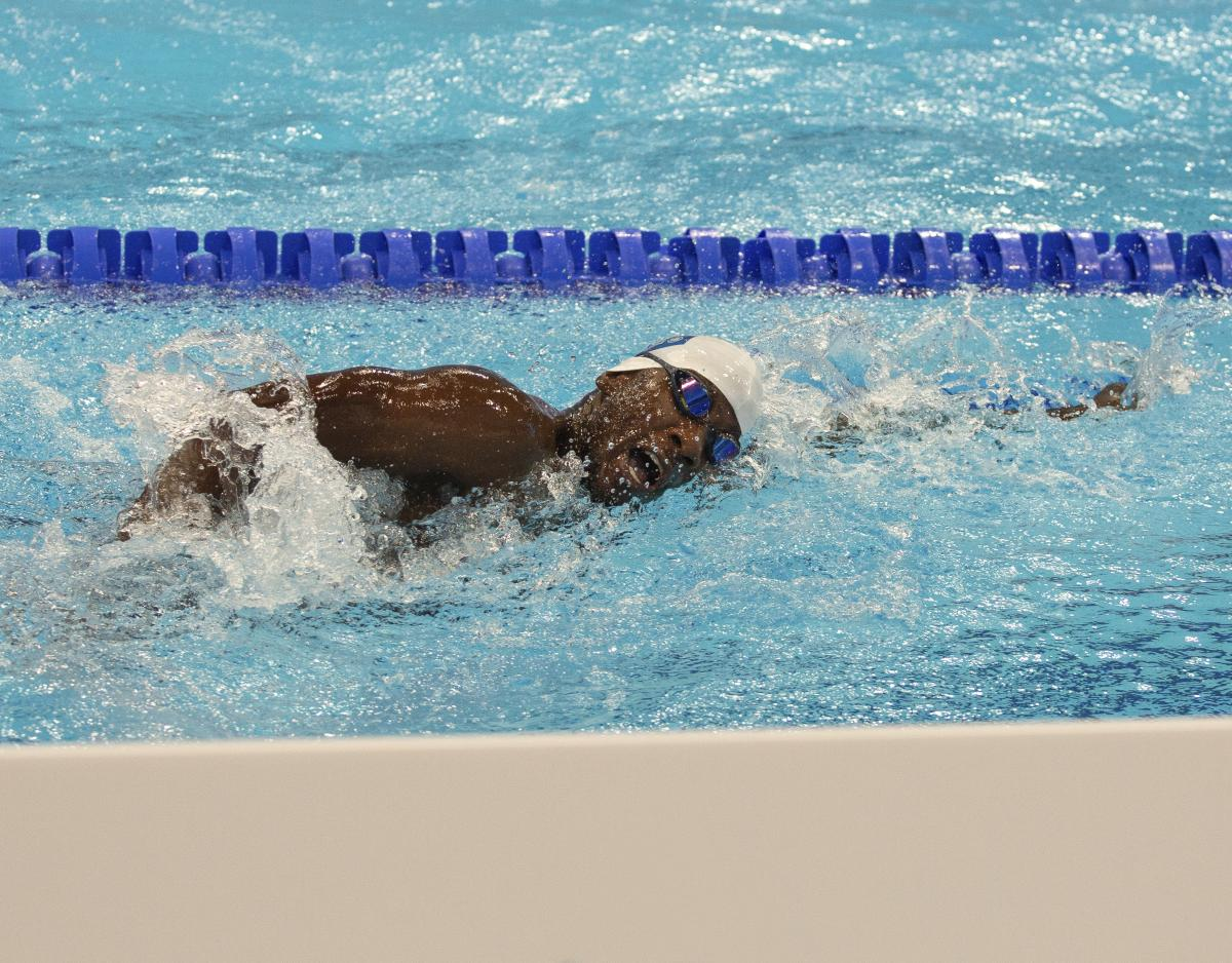 Namibian swimmer Mateus Angula in the pool