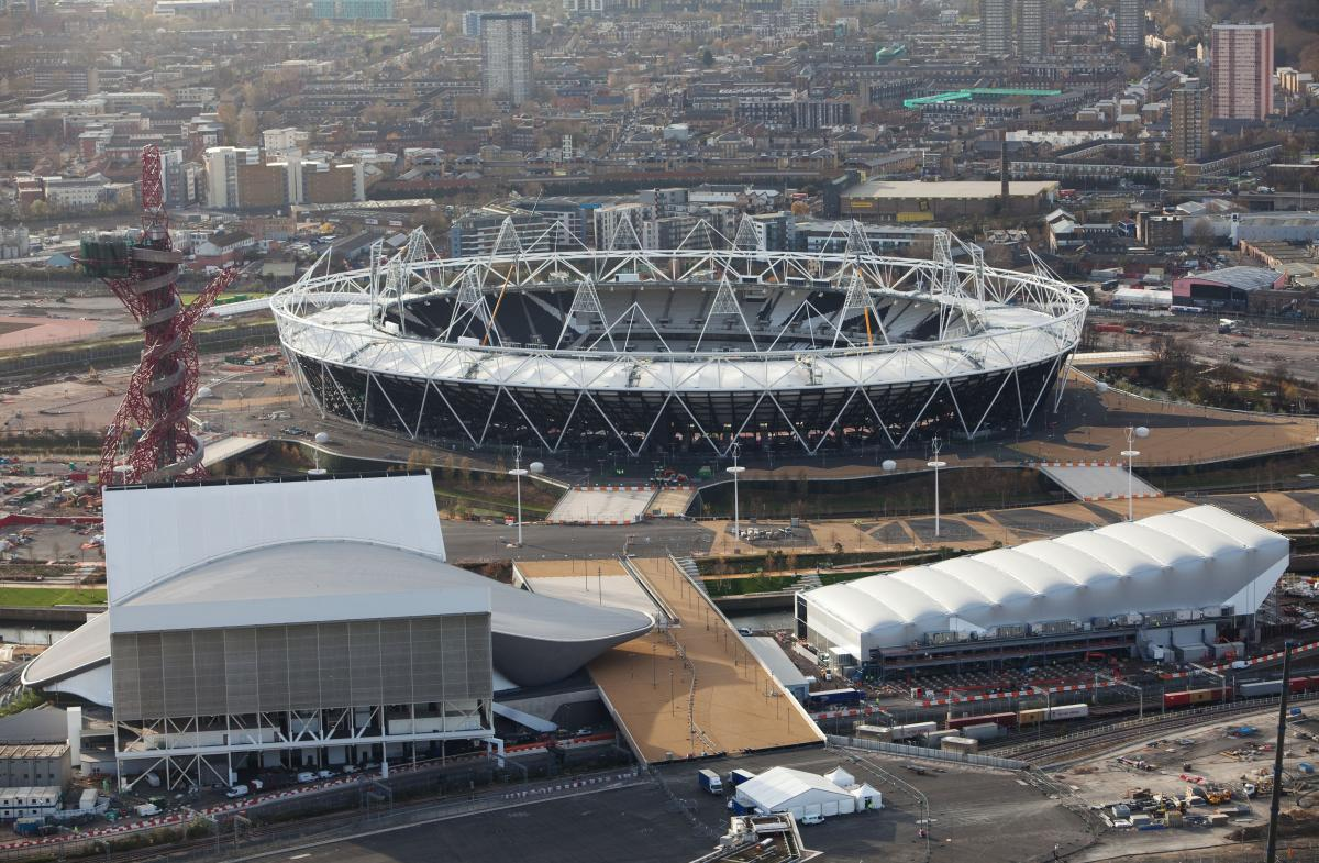 Aerial view showing the progress of the London 2012 Olympic stadium.