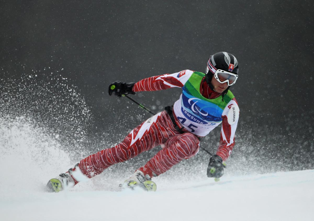 Jakub Krako (SVK) competes in the Men's Visually Impaired Giant Slalom at the Vancouver 2010 Paralympic Winter Games