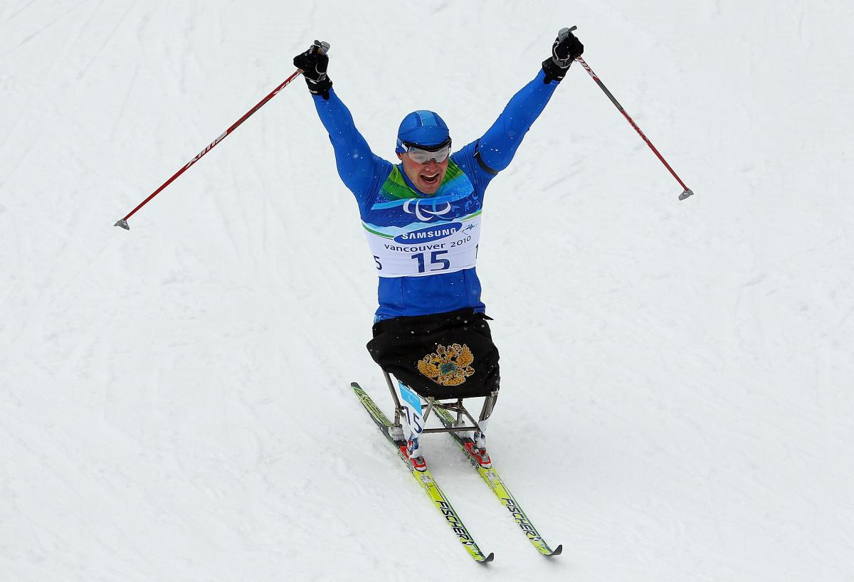 Irek Zaripov celebrating after winning a race at the Vancouver 2010 Paralympic Winter Games