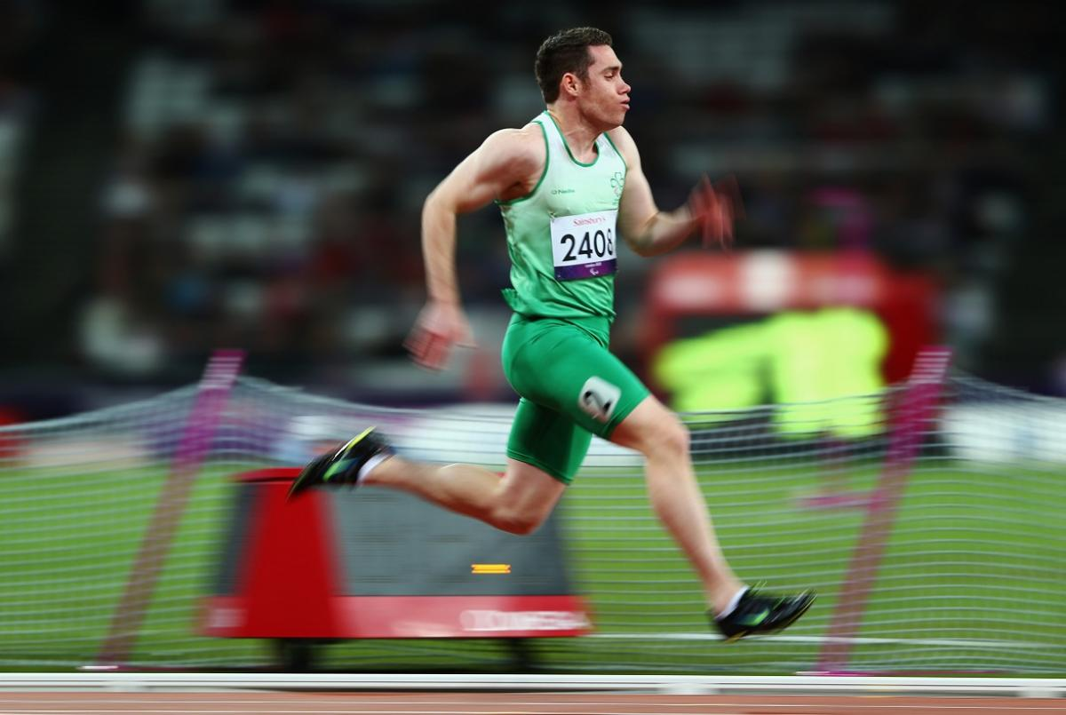 The Irish runner Jason Smyth competes in the men's 100m - T13 heats at the London 2012 Paralympic Games.