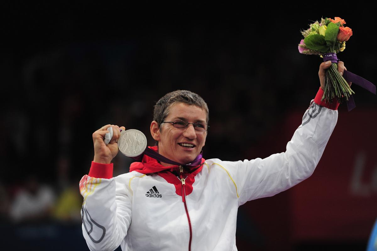 Simone Briese-Baetke of Germany wins Silver during her Womens Epee Category B on day 7 of the London 2012 Paralympic Games