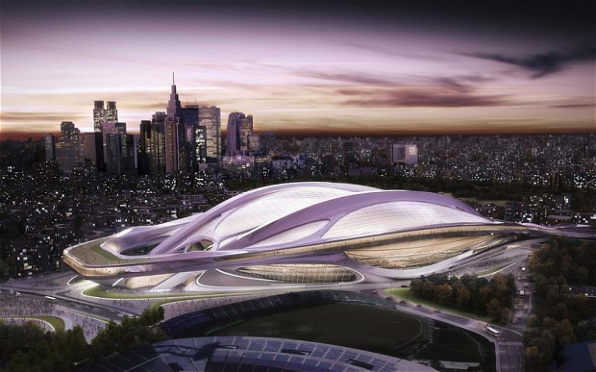 An artist's impression of how the Tokyo 2020 national stadium will look