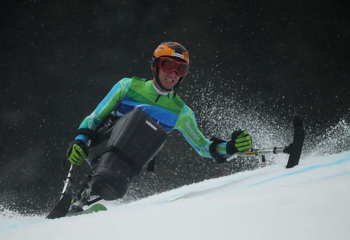 Gal Jakic of Slovenia competes in the Men's Sitting Giant Slalom during Day 5 of the 2010 Vancouver Winter Paralympics