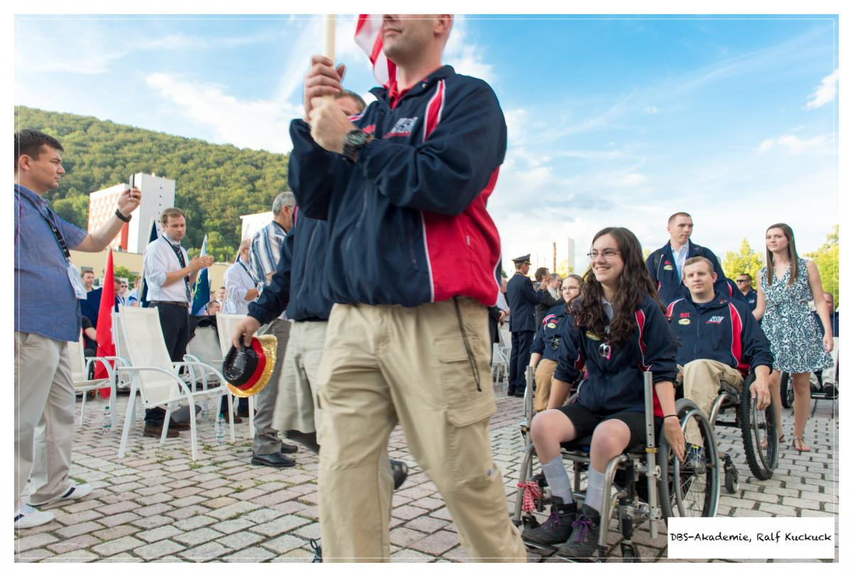 Wheelchair athlete from the USA behind the flag barer during the Opening Ceremony of the 2014 IPC Shooting World Championships Suhl, Germany