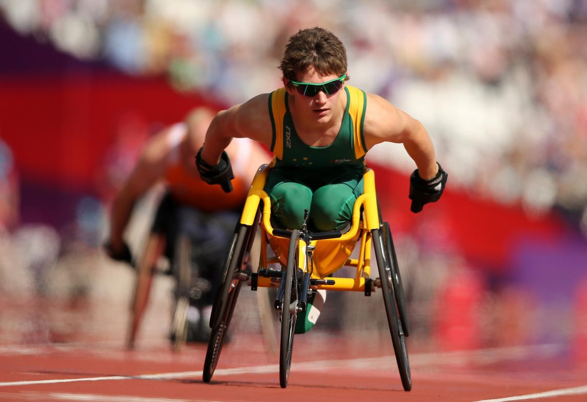 Wheelchair athlete on the track