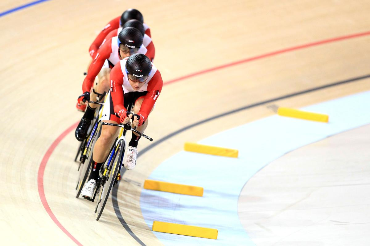 A Canadian athlete tests the Cisco Milton Pan Am/Parapan Am Velodrome