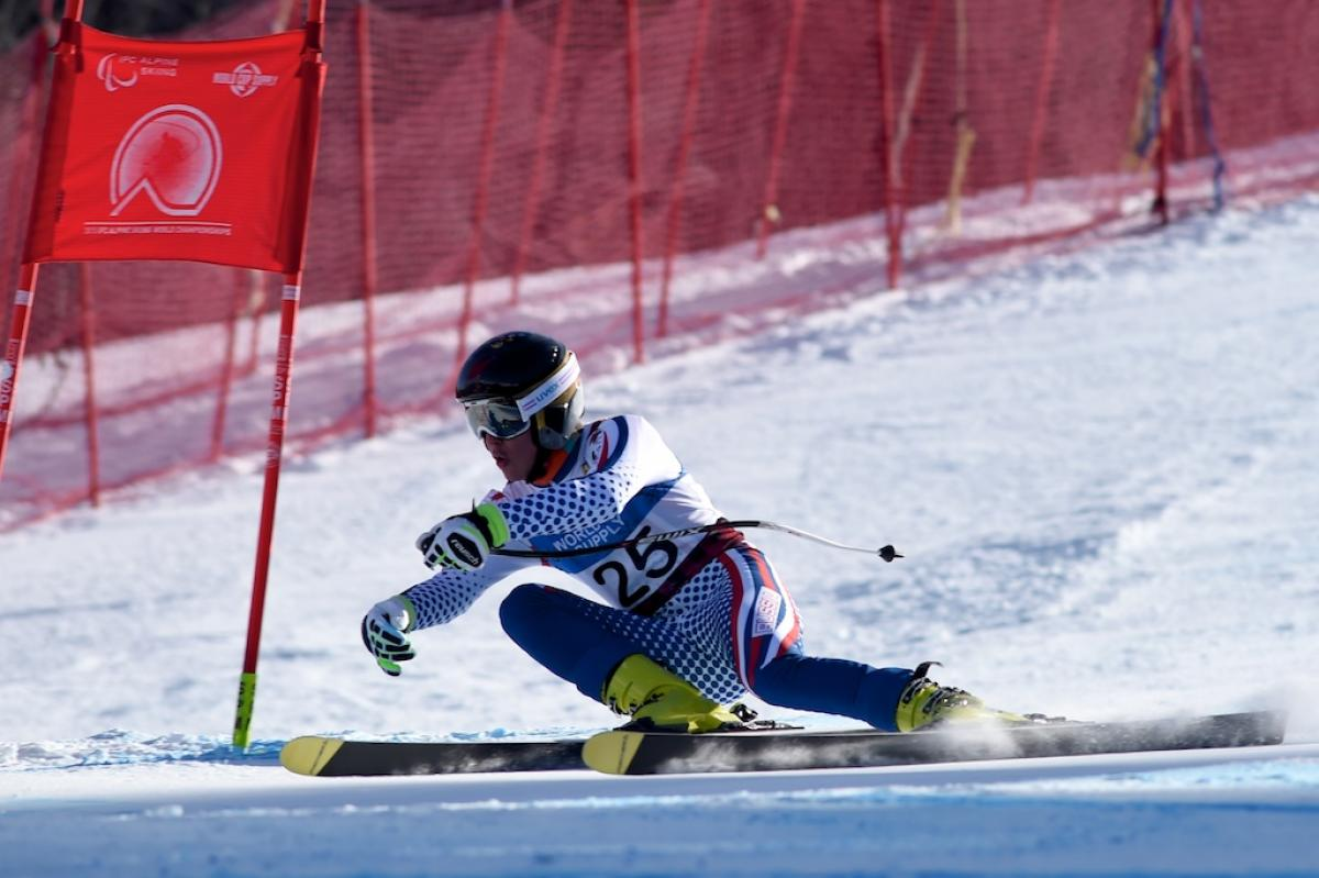 Russia's Alexey Bugaev won downhill in the men's standing at Panorama 2015.