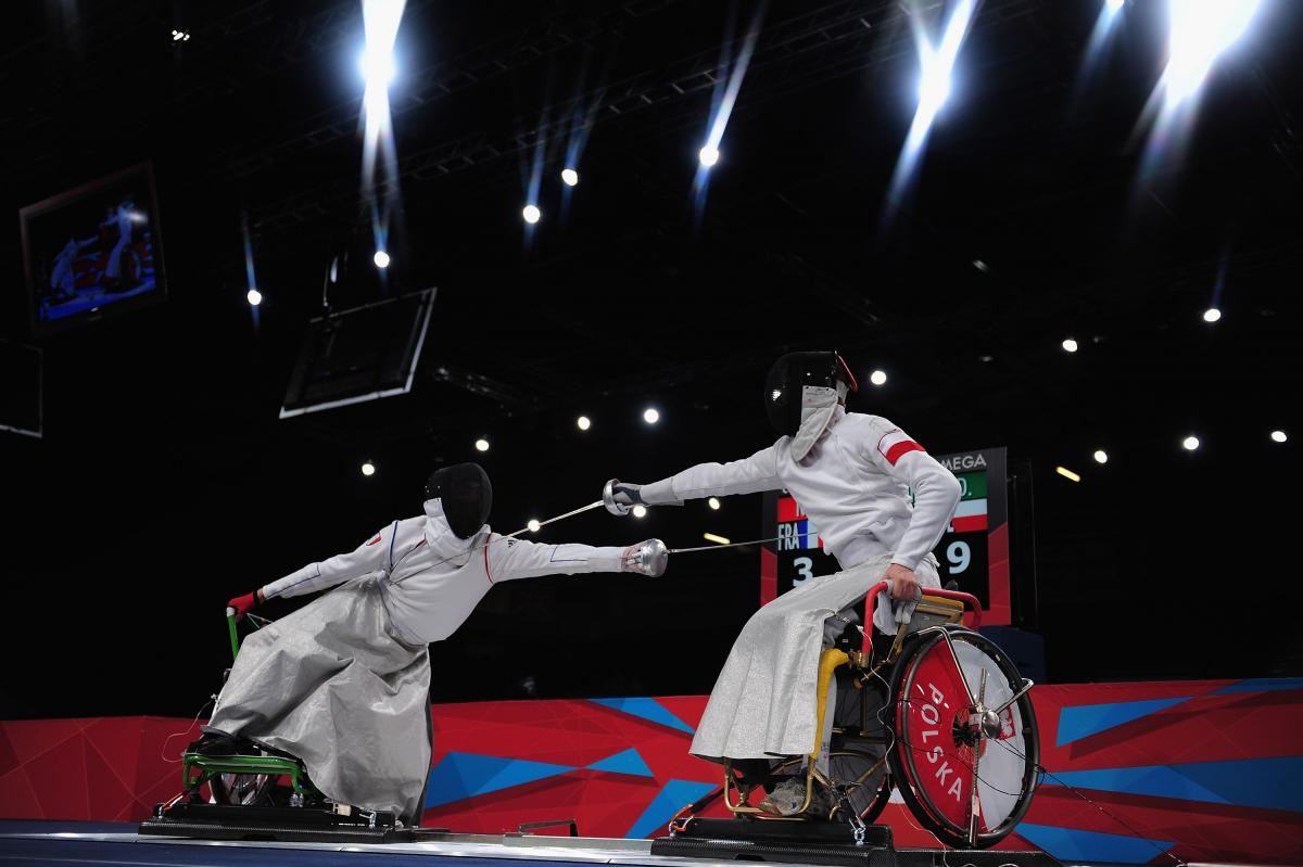 Dariusz Pender of Poland fences during his Gold Medal match against Romain Noble of France on day 7 of the London 2012 Paralympic Games.