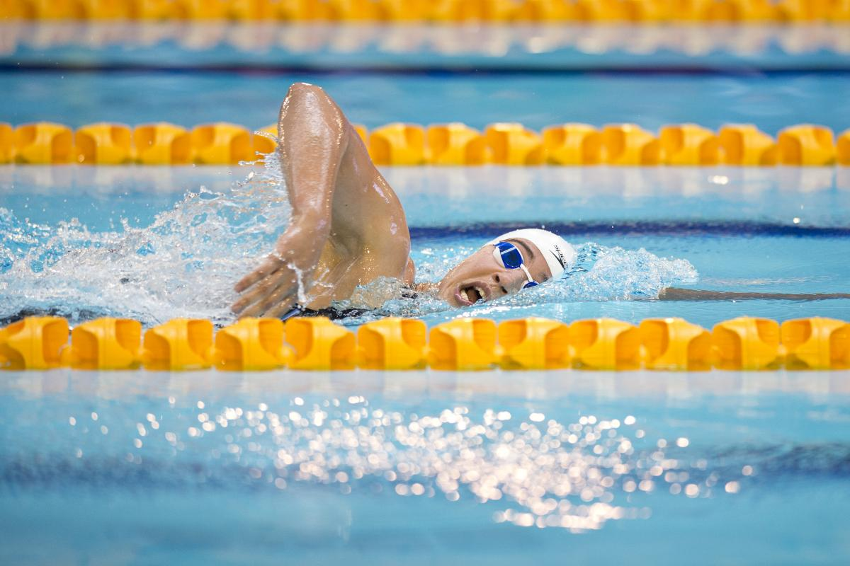 Inbal Pezaro of Israel competing in the Women's 200m Freestyle S5 at the 2015 IPC Swimming World Championships in Glasgow.