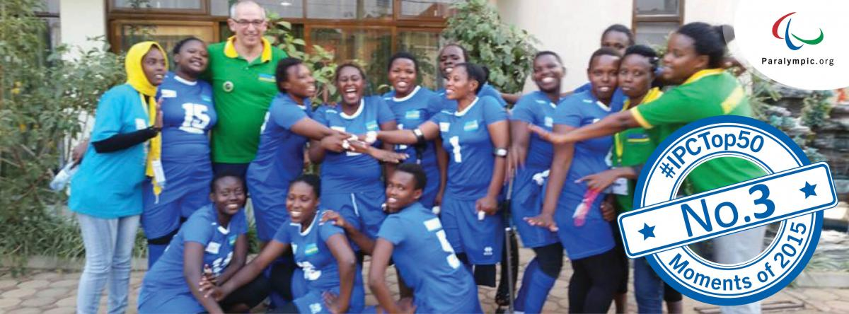 Group picture of Rwanda's women sitting volleyball team