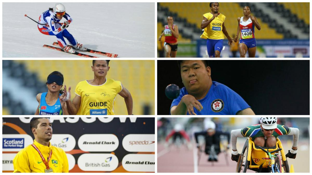 Collage of six images showing athletes