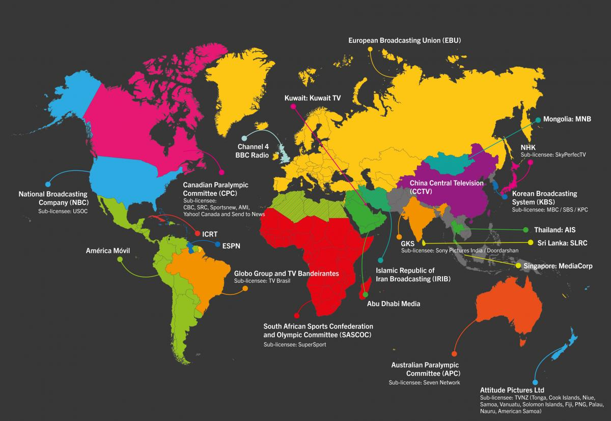 World map showing platforms where you can watch Paralympics Rio 2016