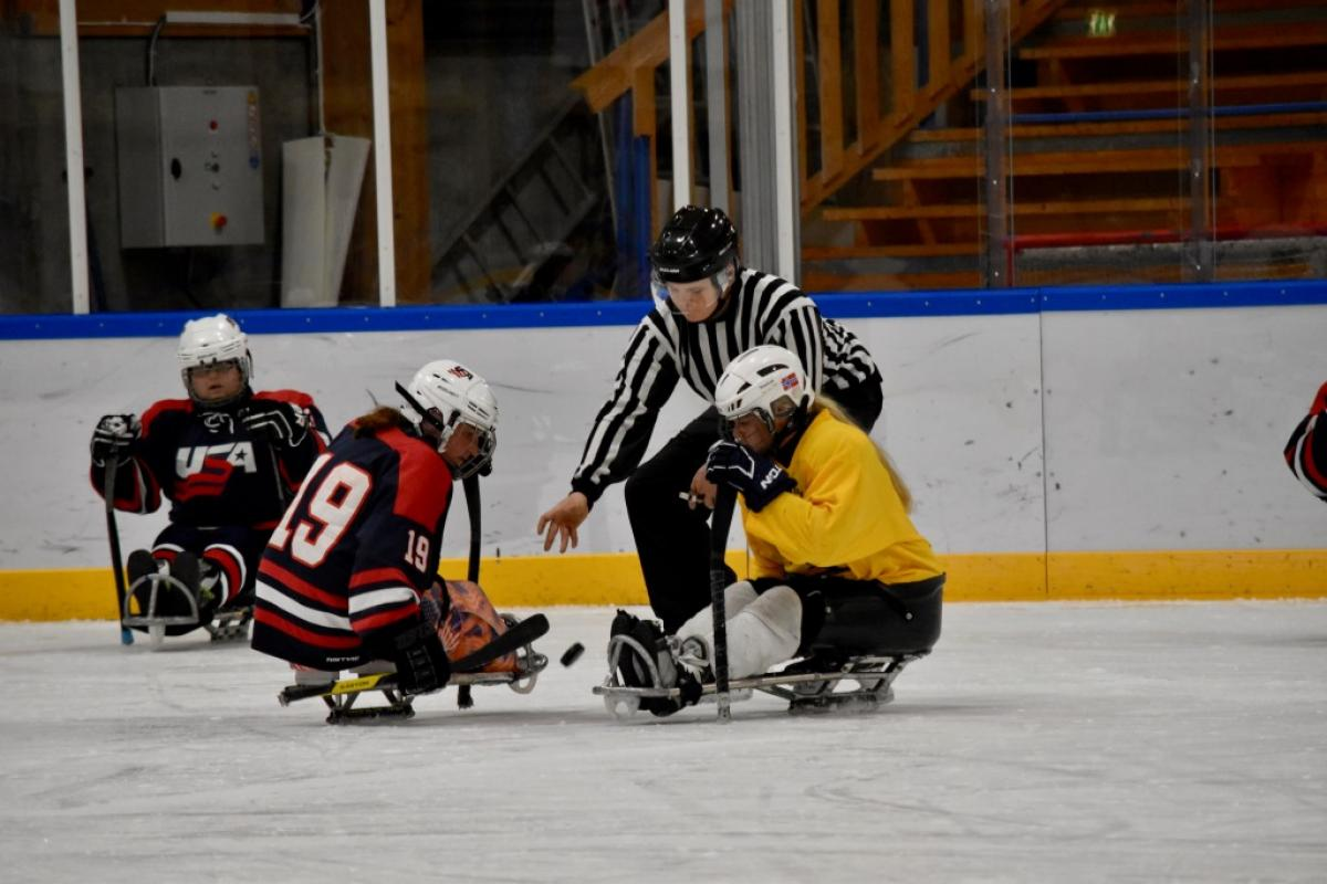 Two female sledge hockey players on the ice, fighting for the puk from the referee