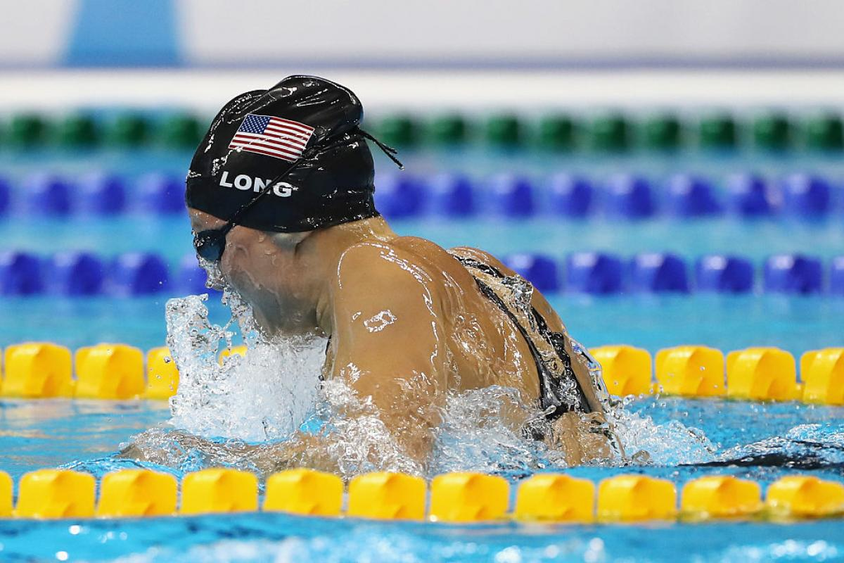 Jessica Long of the United States compete in the on day 10 of the Rio 2016 Paralympic Games at the Olympic Aquatics Stadium