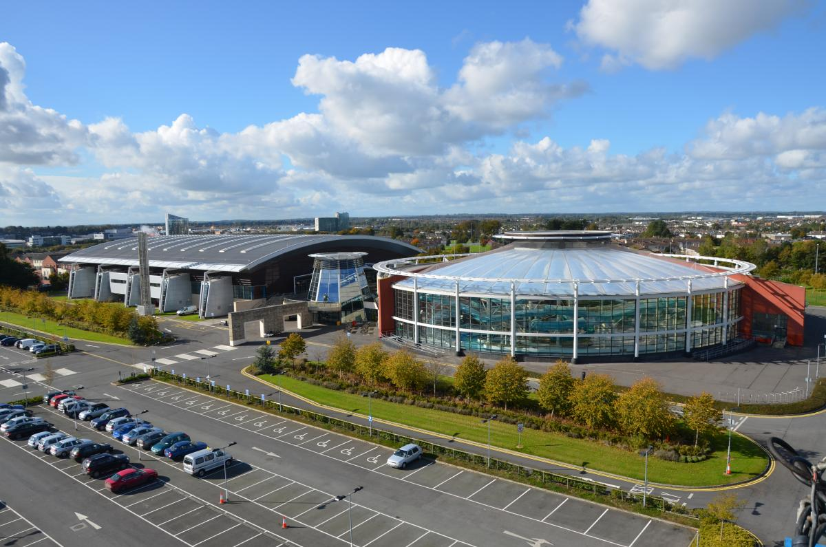an aerial view of an aquatics centre