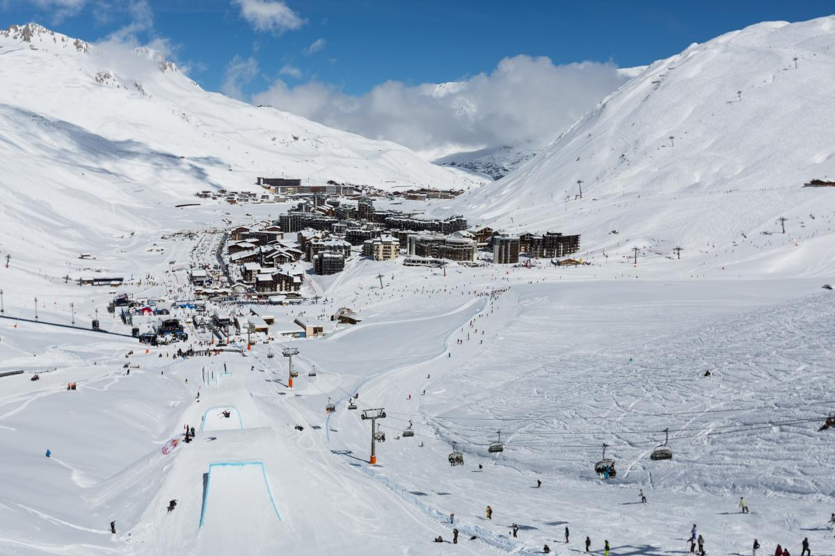 a general view of a ski resort and village