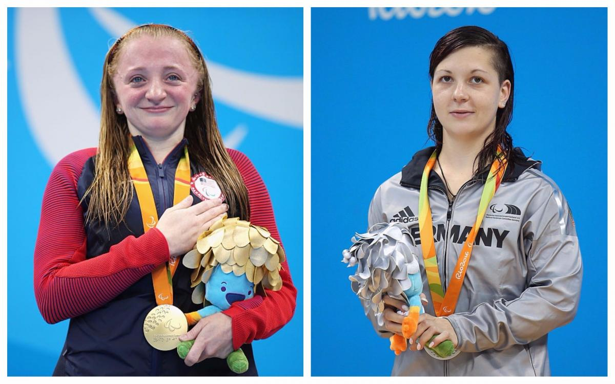 two female Para swimmers stand on the podium with their medals