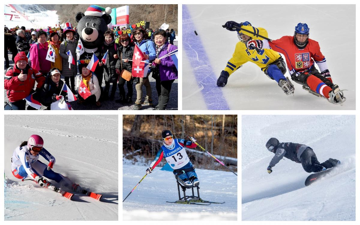 winter sports athletes and the mascot for the Winter Games