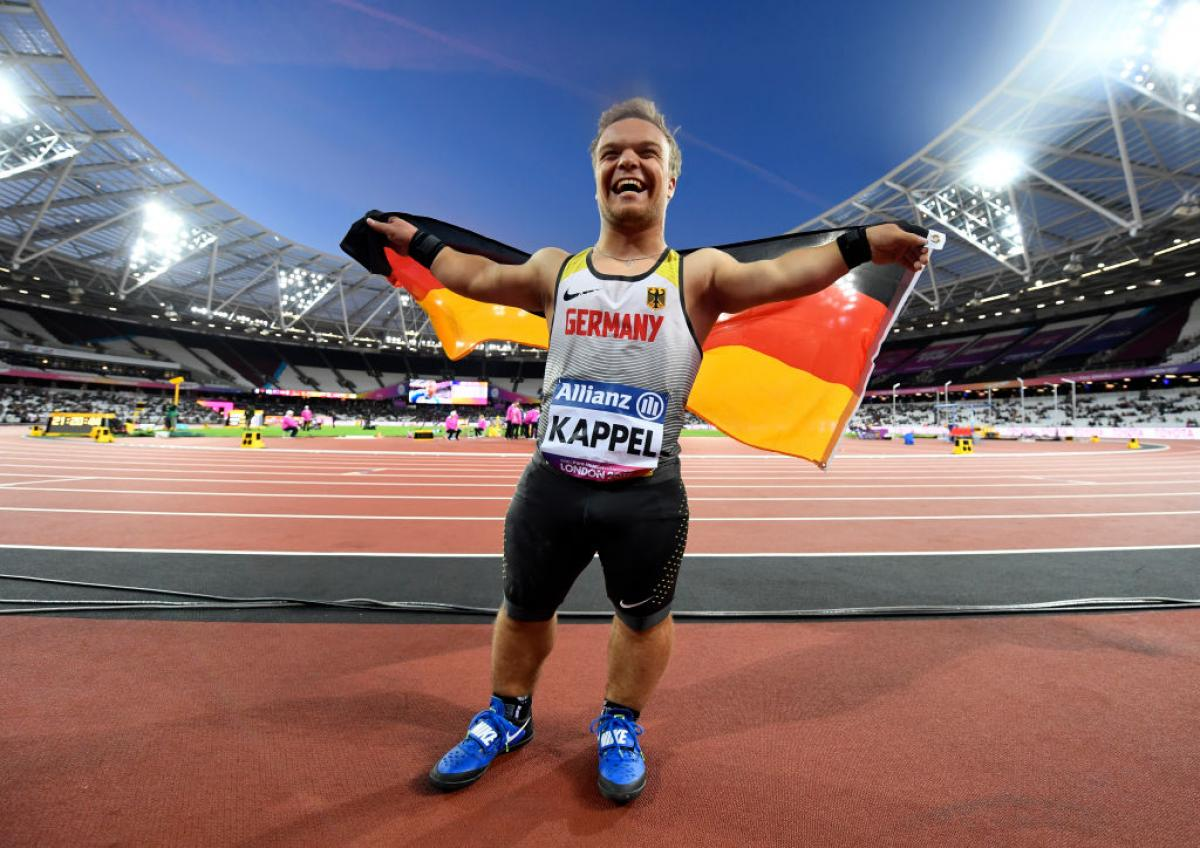 Niko Kappel of Germany celebrates victory in the Men's Shot Put F41 Final at the London 2017 World Para Athletics Championships.