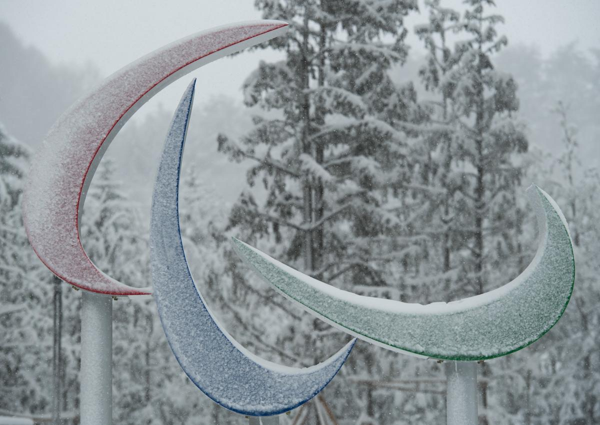 the Agitos symbol covered in snow at the PyeongChang 2018 Paralympic Village