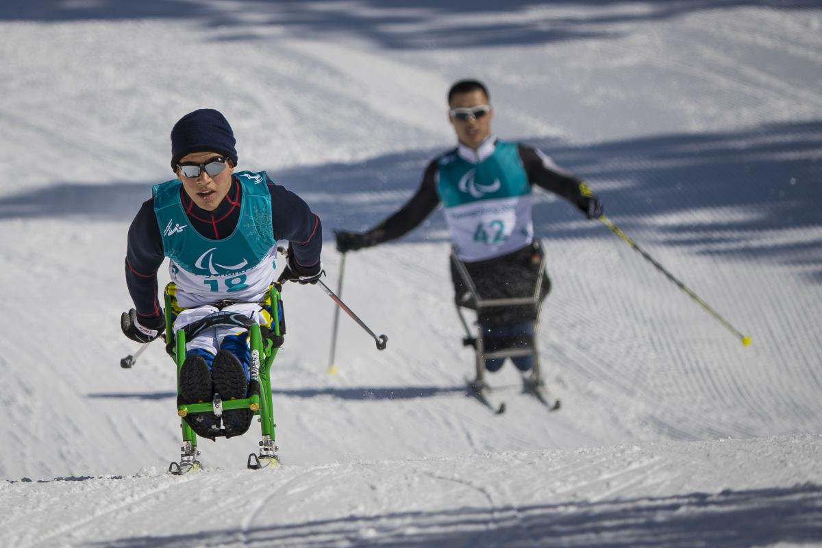 Brazilian Para Nordic skier Christian Ribera practices in PyeongChang ahead of the 2018 Winter Paralympics