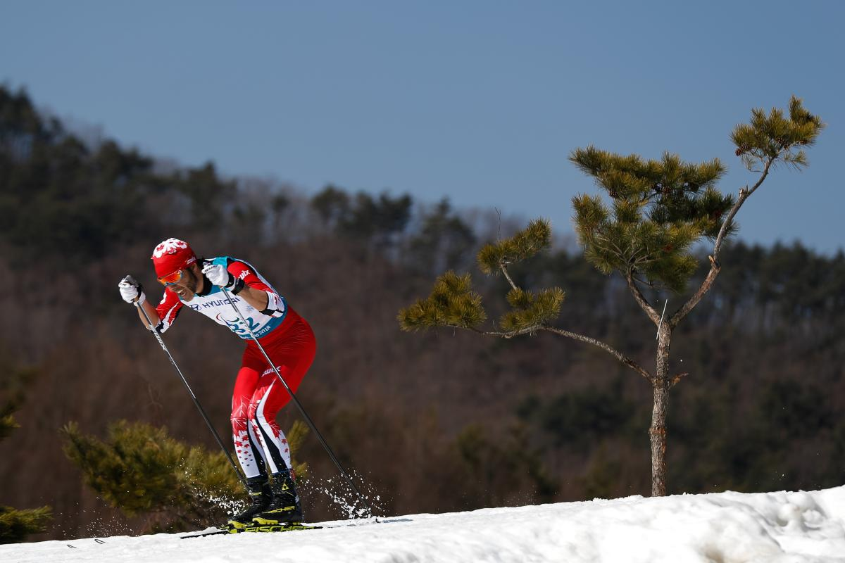 a Para cross-country skier in action