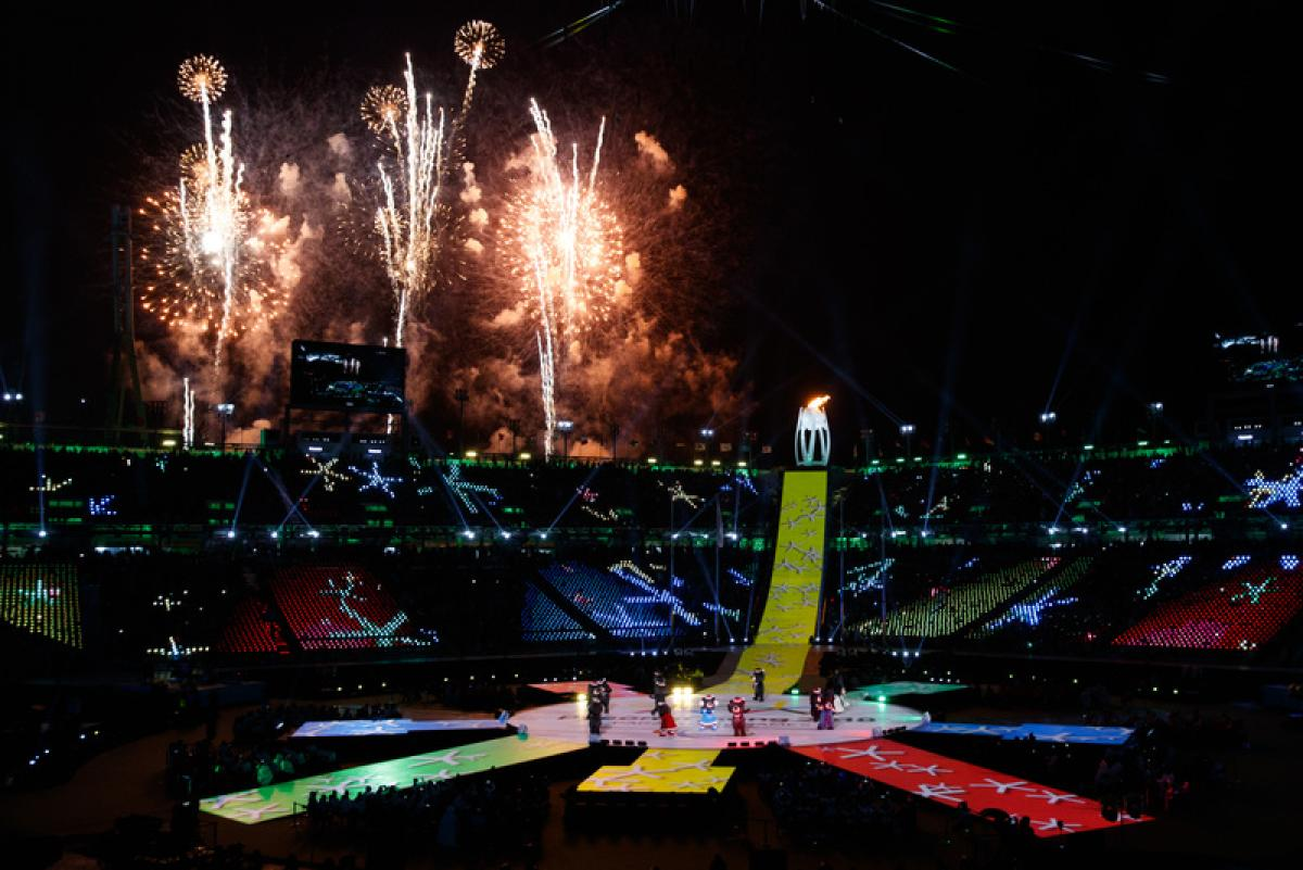 Fireworks over the stadium during Closing Ceremony