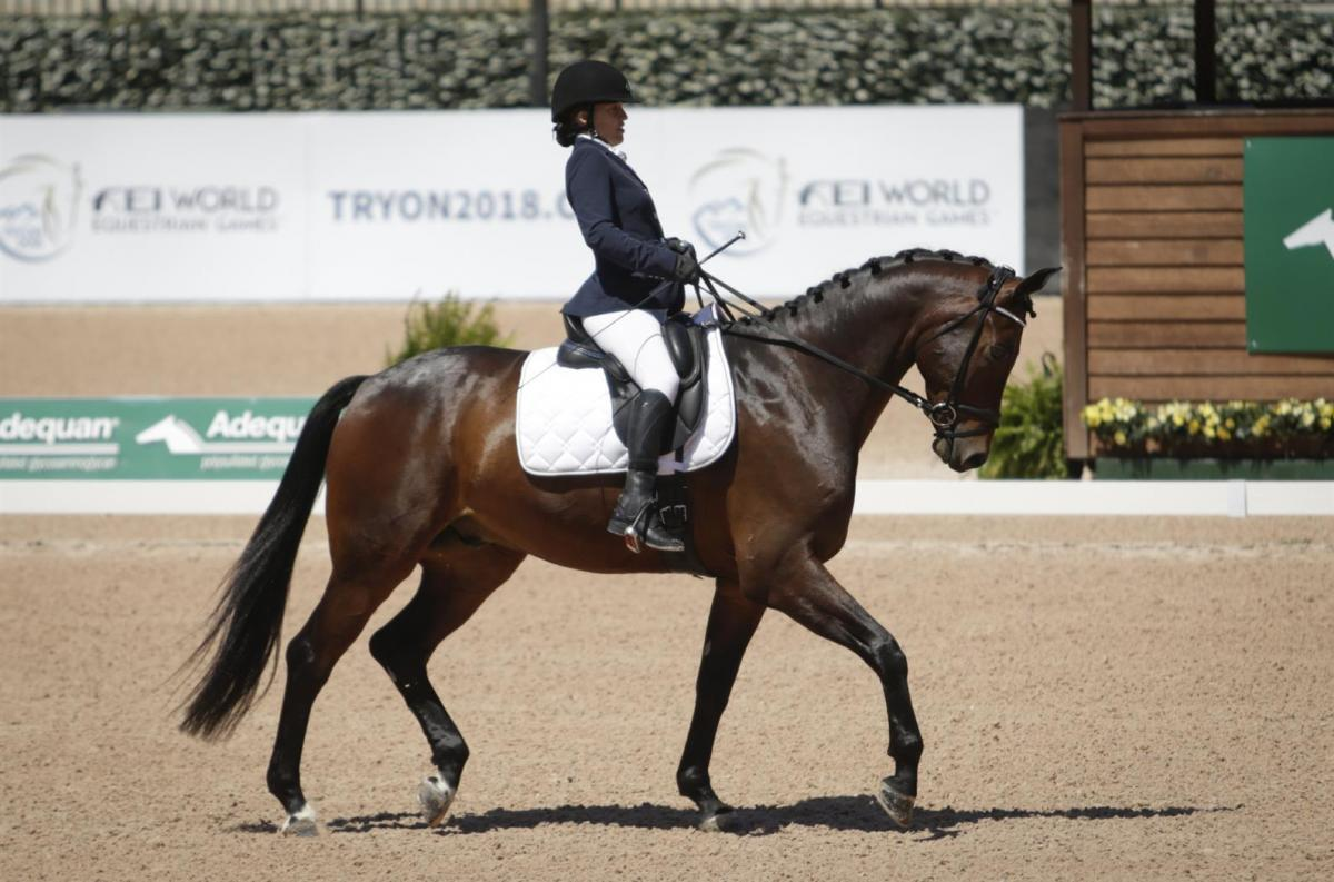 A female Para equestrian rider on her horse